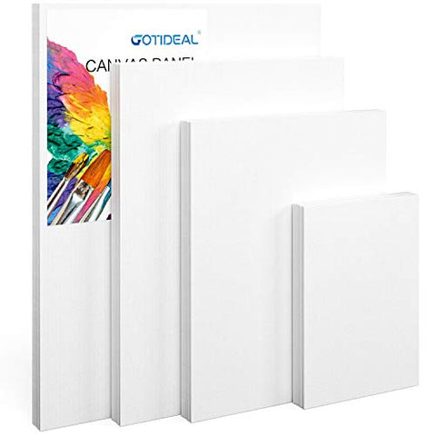 "GOTIDEAL Canvas Panels Multi Pack, 5x7"", 8x10"", 9x12"", 11x14"" Set of 28,Professional Primed White Blank- 100% Cotton Artist Canvas Boards for Painting, Acrylic Paint, Oil Paint Dry & Wet Art Media"