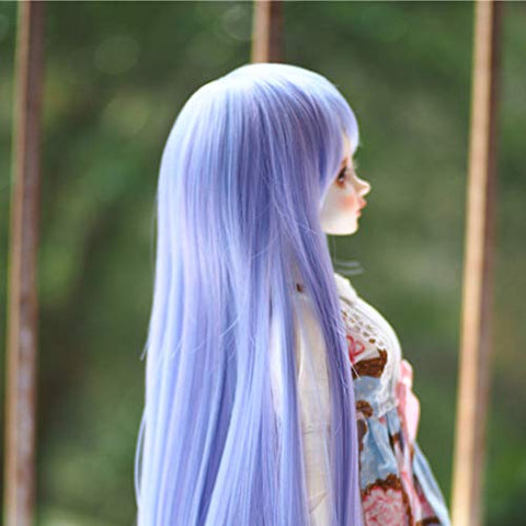 HMANE BJD Doll Wig, Long Straight Hair Slanted Bangs Wig for 1/4 BJD Dolls - Purple (No Doll)