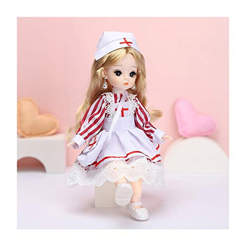 "1/6 Ball-Jointed Doll 30cm 12"" 21 Moveable Mini Doll DIY Toys with Clothes Shoes Wig Headwear, Best Festival Gift for Girls,C"
