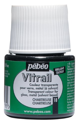 Pebeo Vitrail Stained Glass Effect Glass Paint 45-Milliliter Bottle, Chartreuse
