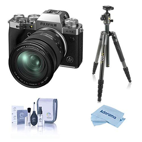 Fujifilm X-T4 Mirrorless Digital Camera with XF 16-80mm f/4 R OIS WR Lens, Silver - With Vanguard VEO 2 265CB 5-Section Carbon Fiber Tripod with BH-50 Ball Head, Gray - Cleaning Kit - Microfiber Cloth