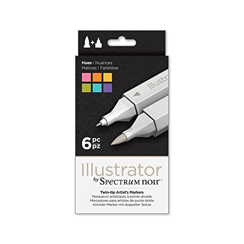 Spectrum Noir Illustrator Twin End Artist Craft Pen Set - Hues 6 Pack