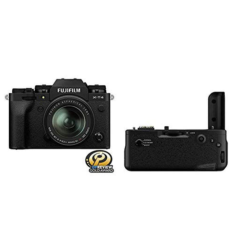 Fujfilm X-T4 Mirrorless Digital Camera XF18-55mm Lens Kit - Black + Fujifilm VG-XT4 Vertical Battery Grip
