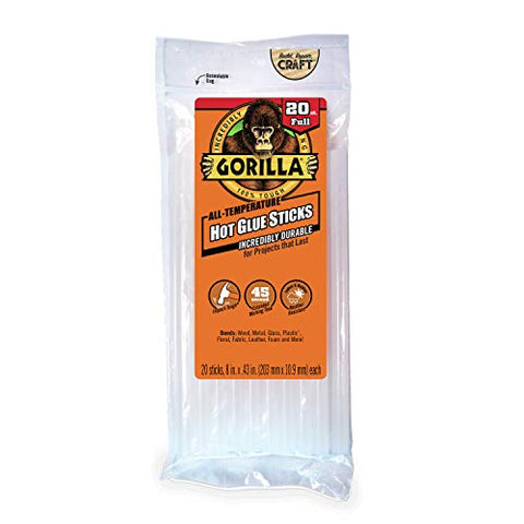 "Gorilla Hot Glue Sticks, Full Size, 8"" Long x .43"" Diameter, 20 Count, Clear, (Pack of 1)"