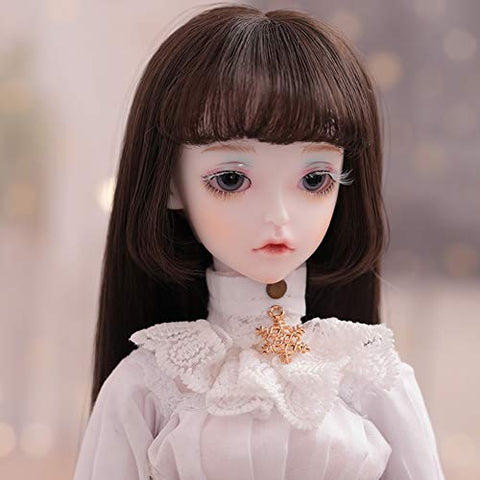 ZDD Full Set 1/4 BJD Doll with Long Wig Hair 3D Real Eyes Baby Girl Dress Up Change Makeup Toy 42cm 16.53inch for Baby Girl Birthday