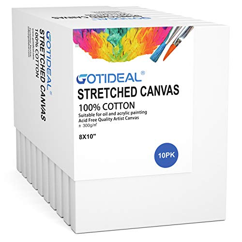 "GOTIDEAL Stretched Canvas, 8x10"" Inch Set of 10, Primed White - 100% Cotton Artist Canvas Boards for Painting, Acrylic Pouring, Oil Paint Dry & Wet Art Media"