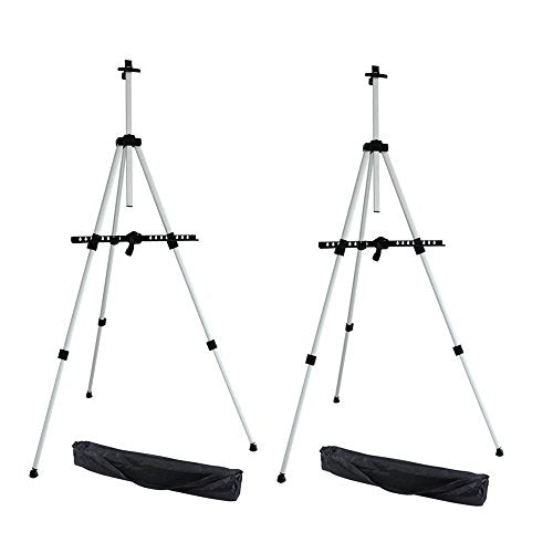 Ohuhu Artist Easel, Aluminum Field Easel Stand with Bag for Table-Top/Floor, 2-Pack Art Easels with