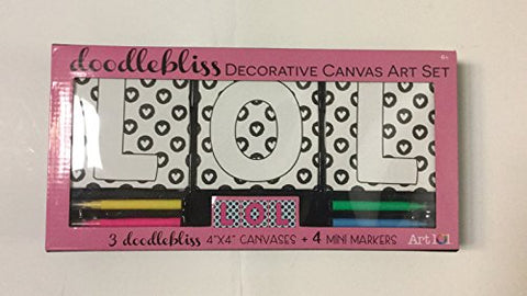 Doodlebliss Decorative Canvas Art Set (4x4 Canvases + 4 Mini Markers)LOL