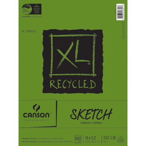"Canson XL Recycled Sketch Paper Pad 9""X12"", 100 Sheets"