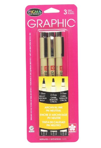 Sakura 38881 3-Piece Pigma Blister Card Graphic Ink Pen Set, Black