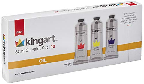 KINGART 522-10 Oil Paint, 37ml Tubes, Set of 10 Unique Colors, Professional Paint, Metal Tubes