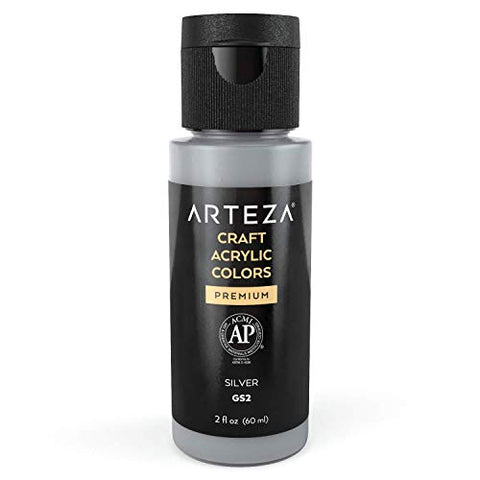 Arteza Craft Acrylic Paint GS2 Silver, 60 ml Bottles, Water-Based, Matte Finish, Blendable Paints for Art & DIY Projects on Glass, Wood, Ceramics, Fabrics, Paper & Canvas