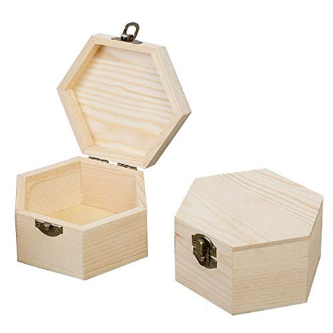 LONG TAO 2 Pcs 5.1''x5.1''x2.7'' Unfinished Wood Box Hexagon Wooden Treasure Boxes Wooden Storage Box Natural DIY Craft Stash Boxes with Hinged Lid and Front Clasp for Crafts Art Hobbies Home Storage