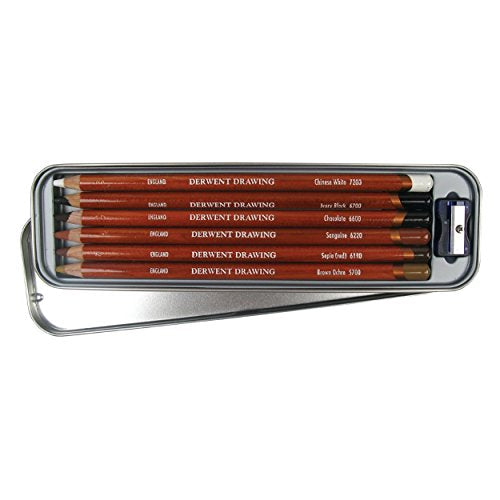Derwent Drawing Pencils and Accessories, Soft, Metal Tin, 6 Count (0701089)