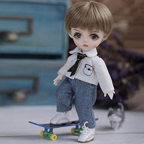 ZDD 1/8 Casual Boy Dolls BJD/SD Doll 16cm Ball Jointed Doll Child DIY Toy Gift, with Full Set Clothes Shoes Wig Makeup, Best Gift for Children's Day