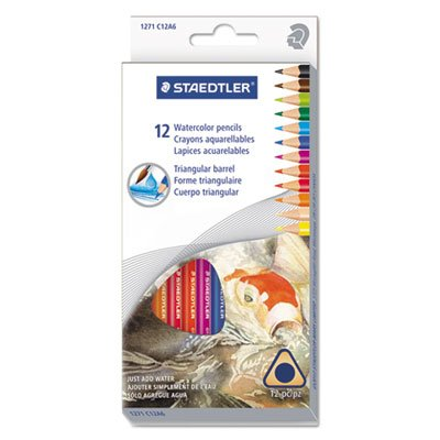 Triangular Watercolor Pencil Set, H/#3, 2.9mm, 12 Assorted Colors