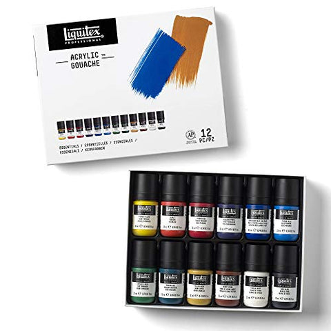 Liquitex 3699325 Professional Acrylic Gouache Paint Set, Essentials 22ml, 6 Colors