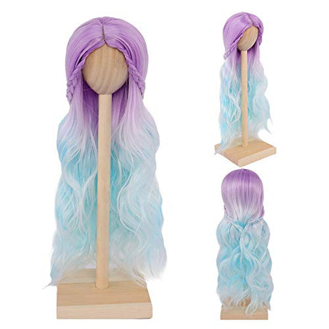 MUZIWIG 1/3 Bjd Doll Hair Wig High Temperature Long Curly Purple Blue Wig for 1/3 BJD Doll