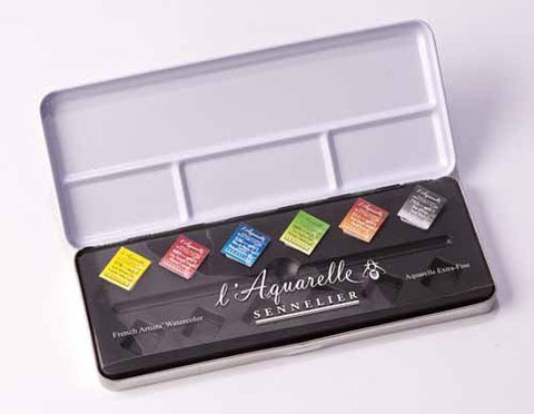 Sennelier l'Aquarelle French Artists' Watercolor Metal Case Set of 6 Half Pans