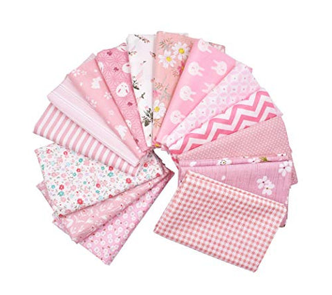 RAYLINE-DO RayLineDo 15PCS 48cmX48cm Cherry Pink Cotton Patchwork Fabric Bundle Squares Quilting Scrapbooking Sewing Art Craft Beds Curtains Pillows Pajamas Making Fabric