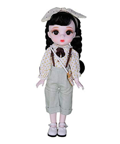 Fortune Days 1/6 BJD Doll, 12 Inch 28 Ball Jointed Hair Transplant Doll with Full Set Clothes Shoes, Best Gift for Girls (Qingning)
