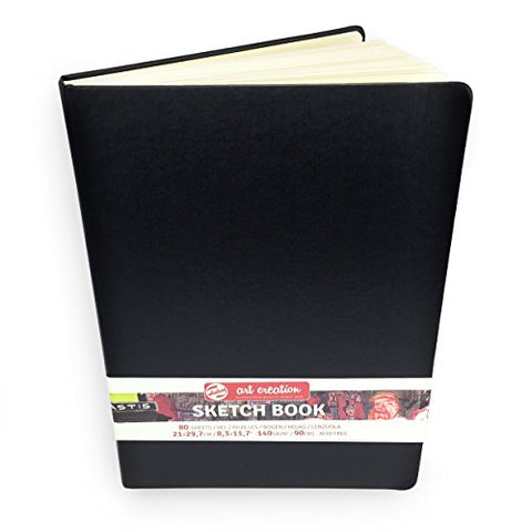 Royal Talens – Art Creation Hardback Sketchbook – 80 Sheets – 140gsm – 21 x 29.7cm – Black Cover
