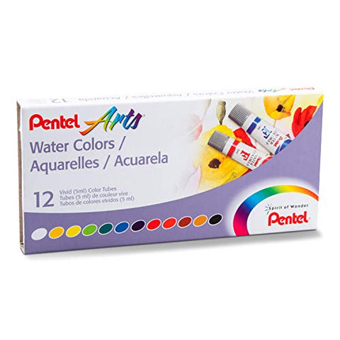 Pentel Arts Water Colors, Assorted, 5ml Tubes, 12 Color Set (WFRS-12)