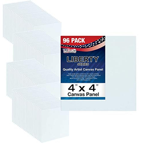 US Art Supply 4 X 4 inch Professional Artist Quality Acid Free Canvas Panels 8-12-Packs (1 Full Case of 96 Single Canvas Panels)