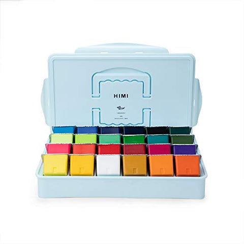 MIYA HIMI Gouache Paint Set 24 Colors/Four Colors (80ml/Pc) Paint Set Non Toxic Paints for Artist, Hobby Painters & Kids, Ideal for Canvas Painting for Novelty Gift (Blue)