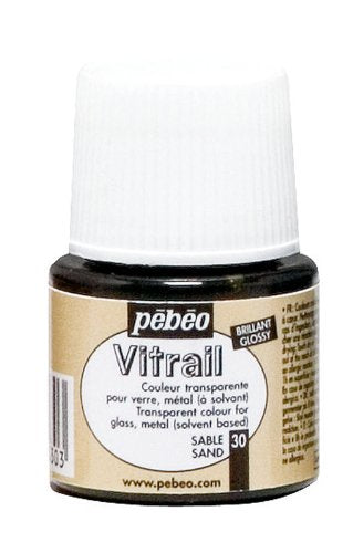 Pebeo 050-030CAN Vitrail Stained Glass Effect Glass Paint 45-Milliliter Bottle, Sand