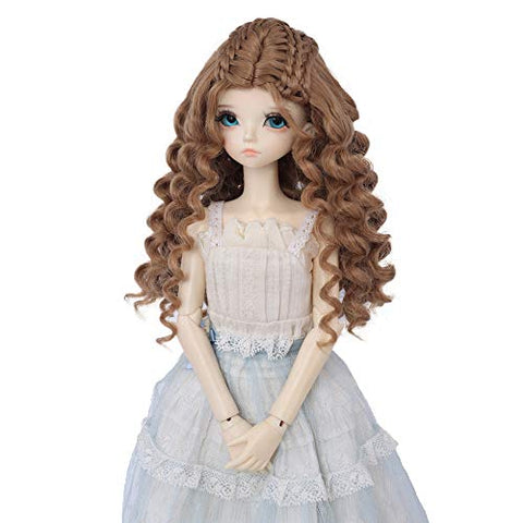 AIDOLLA BJD Doll Wig 1/4 SD Dolls 7-8 inch Girls Gift Temperature Synthetic Fiber Long Curly Synthetic Hair