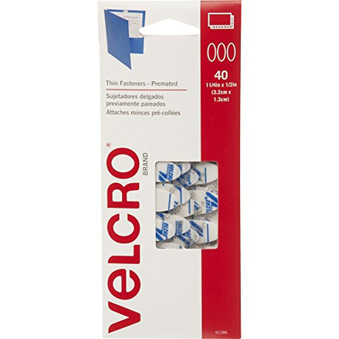 VELCRO Brand - Thin Fasteners - Premated - Ovals, 40 Sets - White