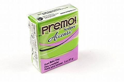 Premo Sculpey Accents Polymer Clay 2oz-Bright Green Pearl