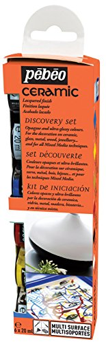 Pebeo Ceramic Discovery Set of 6 Assorted 20ml Enamel Effect Colors