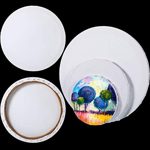 6 Pieces Pre Stretched Canvas Round Canvas Boards for Painting Canvas Panel Boards 6-12 Inch Art Stretched Canvas, Acrylic Pouring, Acid-Free Blank Cotton Canvas Panels for Hobby Painters Beginners