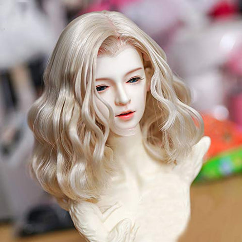 HMANE BJD Doll Wig, Universal Curly Wig for 1/3 BJD Dolls - Light Golden (No Doll)