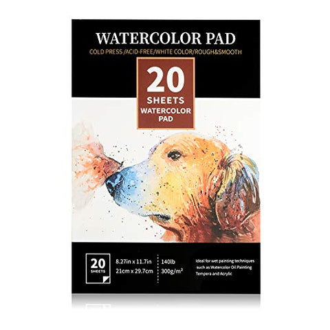"8.27""x11.7"" Expert Watercolor Pad, 20 Sheets (140lb/300gsm), Cold Pressed Paper, Sketchbook Pad for Water Painting & Drawing, Perfect for Wet, Dry & Mixed Media"