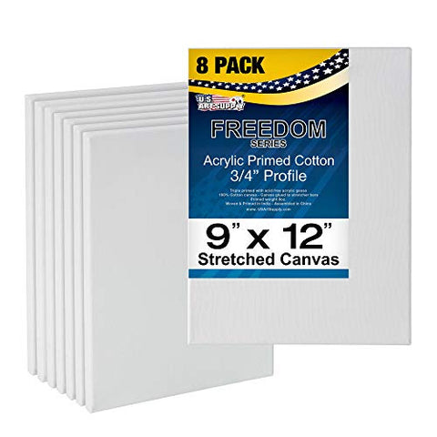 "U.S. Art Supply 9 x 12 inch Stretched Canvas Super Value 8-Pack - Professional White Blank 3/4"" Profile Heavy-Weight Gesso Acid Free Bulk Pack - Painting, Acrylic Pouring, Oil Paint"
