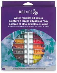 Reeves 24-Pack Water Mixable Oil Colour Tube Set, 10ml