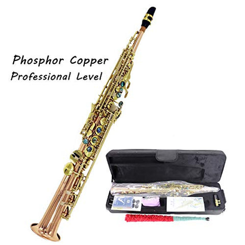 Jody Blues JSS-802 Phosphor Copper Bb Soprano Sax Professional Performance Level with Tuner Mouthpiece Reeds Case