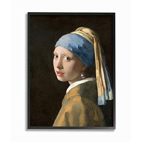Stupell Industries Girl with A Pearl Earring Classical Portrait Painting Black Framed Wall Art, 16 x 20, Design by Artist Johannes Vermeer