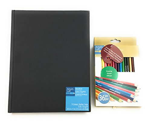 Drawing Sketchbook Black Hardback 8.5 x 11 With Colored Pencils by Artist's Loft