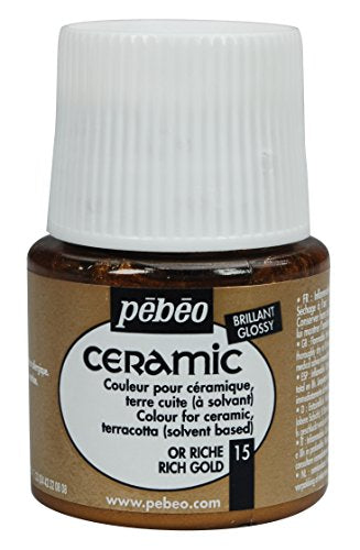 Pebeo Ceramic Enamel Effect Paint, 45 mL, Rich Gold