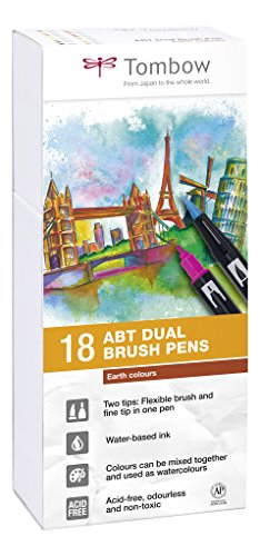 Tombow Dual Brush Pens Earth Colors - Pack of 18 (ABT-18P-3)