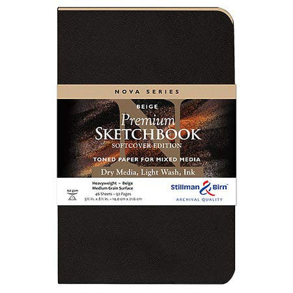 Stillman & Birn Nova Series Premium Sketchbook Toned Paper for Mixed Media Beige Softcover 5.5 x 8.5 in