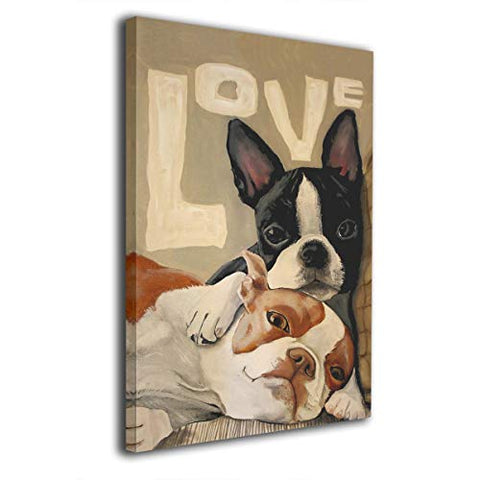 King Duck Boston Terrier Painted Framed Decorations Art Canvas Wall Office Home Decor Paintings Artwork for Living Room Bathroom Bedroom Stretched Ready to Hang 8x12 inch