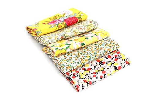"RayLineDo 5X Different Pattern Yellow 100% Cotton Poplin Fabric Fat Quarter Bundle 46 x 56cm (Appox 18"" x 22"") Patchwork Quilting Fabric"