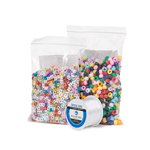 Pony Beads | 2000 Multi-Color Pony and Letter Beads | 164 Foot Jewelry Cord | Resealable Bags