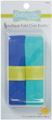Babyville Boutique Fold Over Elastic, Solid Blue and Solid Turquoise