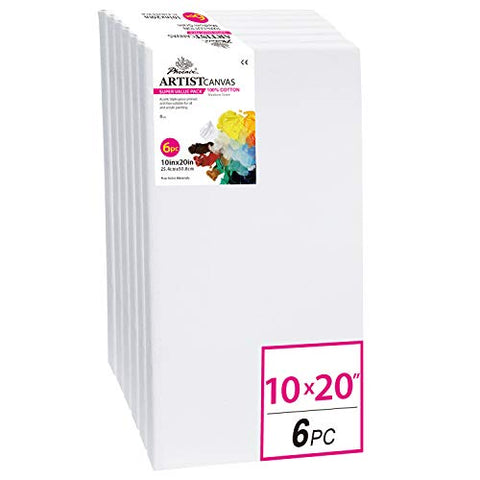 PHOENIX Pre Stretched Canvas for Painting - 10x20 Inch / 6 Pack - 5/8 Inch Profile of Super Value Pack for Oil & Acrylic Paint